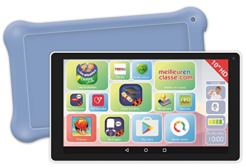 Lexibook LexiTab 10 inch tablet voor kinderen met educatieve apps, games en kinderbeveiliging, incl. beschermtas, Android, WLAN, Bluetooth, Google Play, YouTube, wit/lila, MFC513FR